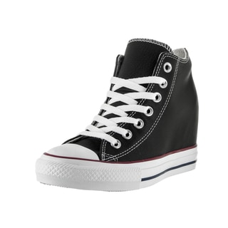 Converse Women's Chuck Taylor Lux Mid Black Leather Casual Shoes