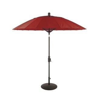 Balboa Breeze Red Sunbrella and Mineral Grey Fiberglass 8.5-foot Round Collar Tilt Umbrella