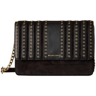 Michael Kors Brooklyn Black Large Grommet-detailed Crossbody Clutch
