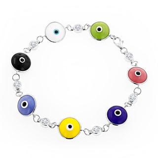 Luxurman 14K Gold 3/4ct TDW Diamond Evil Eye Multicolor Estate Bracelet