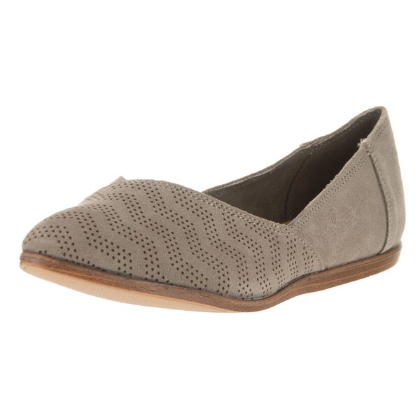 74736695fc0 Toms Women  x27 s Jutti Flat Desert Taupe Suede Chevron Embossed Casual  Shoes