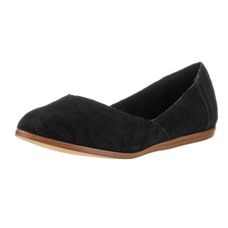 Toms Women's Jutti Flat Black Suede Chevron Embossed Casual Shoes