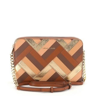 52419035718f Quick View. $221.99. Michael Kors Marquetry Patchwork Jet Set Brown Leather  Travel Large ...