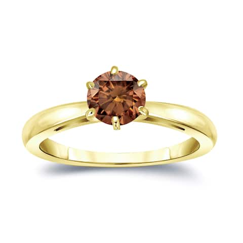 Auriya 14k Gold 3/4ctw Solitaire Brown Diamond Engagement Ring 6-Prong