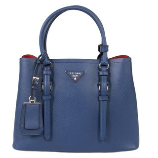 Prada Double Inchiostro/Ink Blue Small Leather Tote Bag