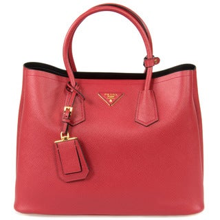 Prada Double Red Saffiano Leather Tote Bag