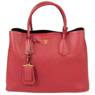 Prada Double Red Leather Tote Bag