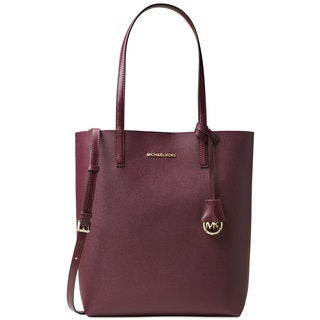Michael Kors Hayley North South Plum and Tulip Leather Large Tote Bag