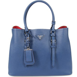 Prada Double Inchiostro/Ink Blue Leather Tote Bag