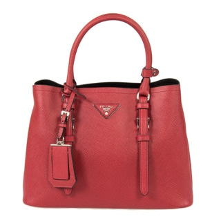 Prada Double Red/Fuoco Small Leather Tote Bag