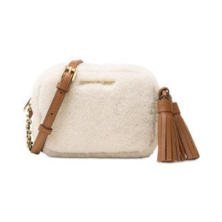Michael Kors Jet Set Natural/Walnut Wool Travel Small-chain Crossbody Bag