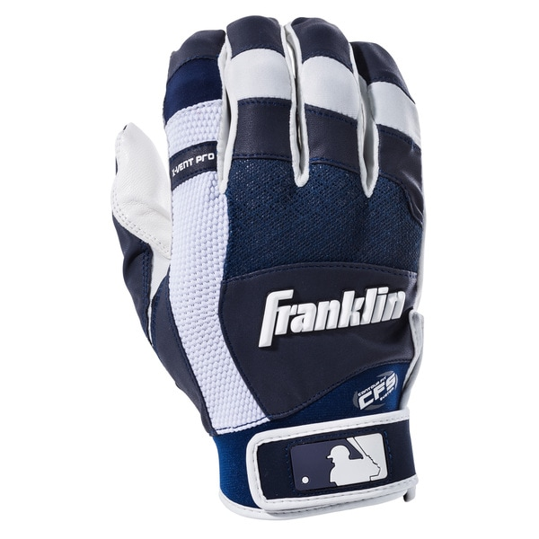 X-Vent Pro White and Navy Leather Batting Gloves