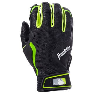Franklin Sports Freeflex Series Black Leather Adult Batting Gloves