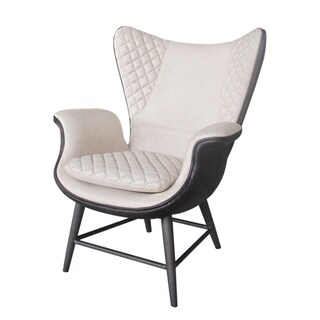 Sonoma Top Grain Leather and Linen Wing Chair