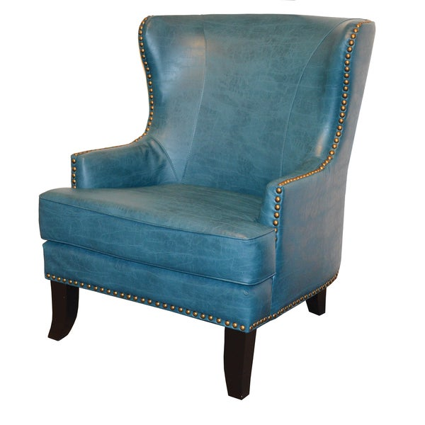 Watson Blue Leather Wingback Armchair