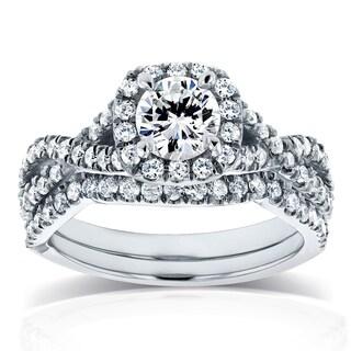Annello by Kobelli 14k White Gold 1 1/5ct TDW Diamond Crossover Halo Bridal Set (HI, I1-I2)