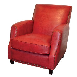 Wendel Red Leather Club Chair with Nailheads