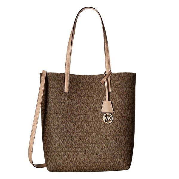 6c12f2198c5119 Shop Michael Kors Hayley Large Mocha/ Bisque North/ South Tote Bag ...