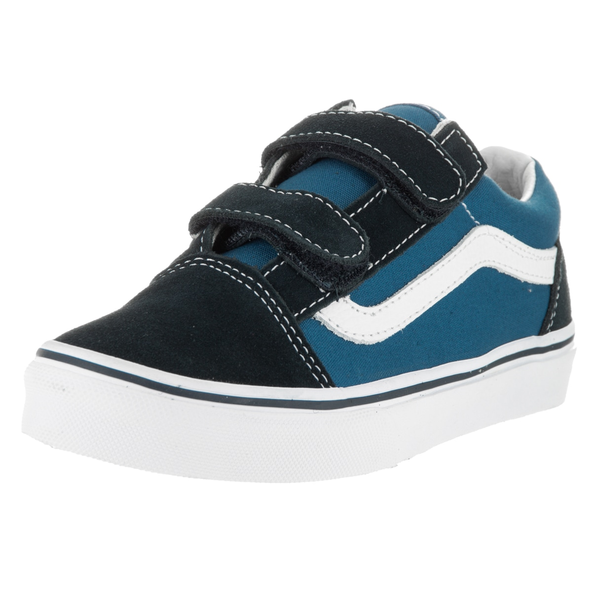 Vans Kids Old Skool V Navy/True White Skate Shoe (10.5), ...
