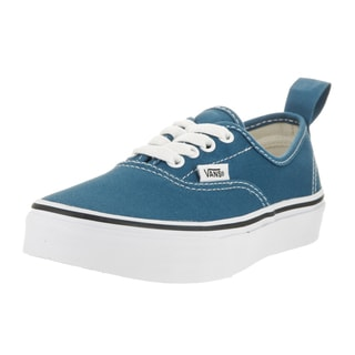 Vans Kids Authentic Elastic Lace Blue Canvas Skate Shoes