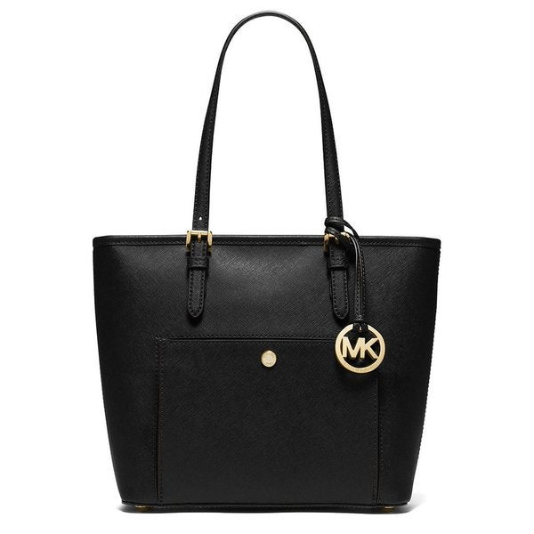 3beb7182ee40 Michael Kors Jet Set Black Leather Medium Top-zip Snap-pocket Tote Bag