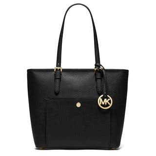 Michael Kors Jet Set Black Leather Medium Top-zip Snap-pocket Tote Bag|https://ak1.ostkcdn.com/images/products/13344525/P20046897.jpg?impolicy=medium