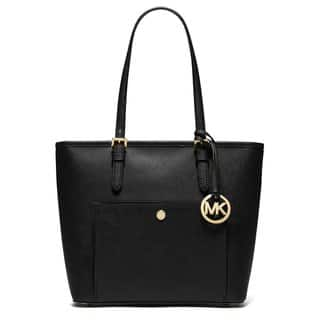 Michael Kors Jet Set Black Leather Medium Top Zip Snap Pocket Tote Bag