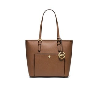 Michael Kors Jet Set Brown Leather Snap-pocket Medium Luggage Tote Bag