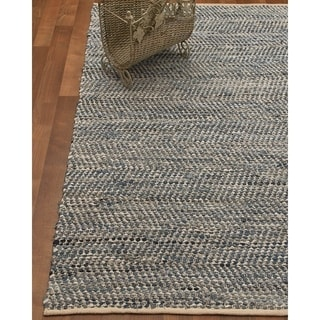 Natural Area Rugs Hand-Loomed Cayman Cotton/Leather Rug w/Bonus Rug Pad, (6' x 9')