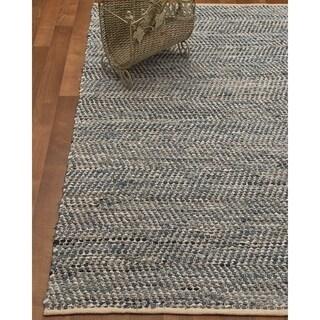Natural Area Rugs Hand-Loomed Cayman Cotton/Leather Rug w/Bonus Rug Pad, (4' x 6')