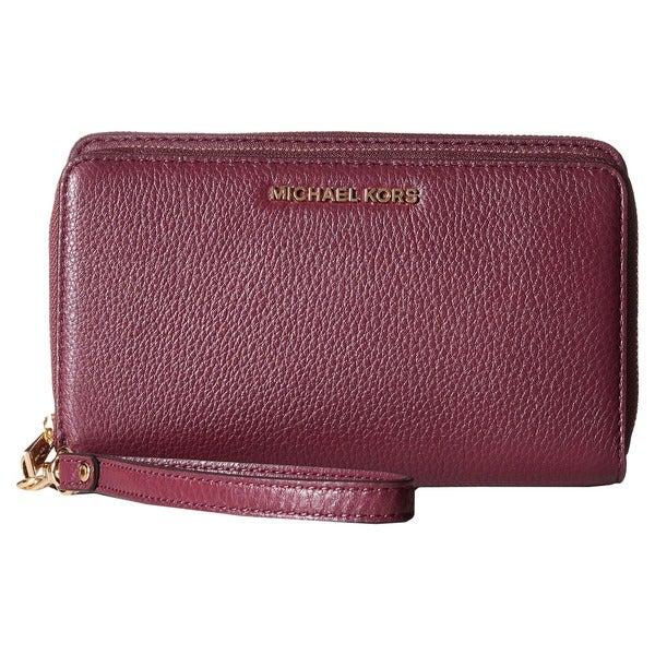 c72254d7cbdb Shop Michael Kors Adele Plum Leather Double-zip Wallet - Free ...