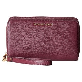 Michael Kors Adele Plum Leather Double-zip Wallet