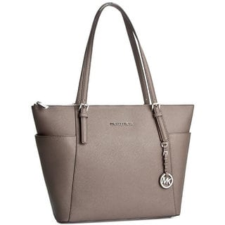Michael Kors Jet Set East/West Cinder Grey Leather Top Zip Tote Bag