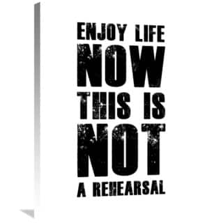 Naxart Studio 'Enjoy Life Now Poster White' Stretched Canvas Wall Art