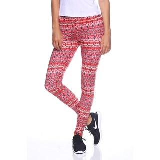 Women's Yoga Red Nylon Print Leggings