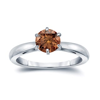 Auriya 14k Gold 1ct TDW 6-Prong Round Cut Brown Diamond Solitaire Engagement Ring (Brown, SI1-SI2)