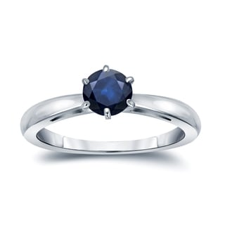 Auriya 14k Gold 1/4ct 6-Prong Round Cut Blue Sapphire Solitaire Engagement Ring