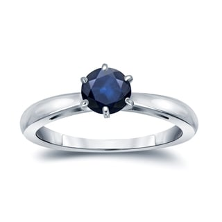 Auriya 14k Gold 1/3ct 6-Prong Round Cut Blue Sapphire Solitaire Engagement Ring