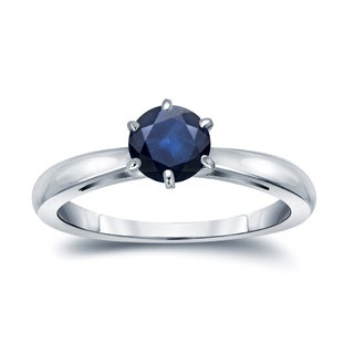 Auriya 14k Gold 1/2ct 6-Prong Round Cut Blue Sapphire Solitaire Engagement Ring