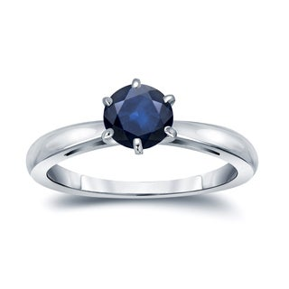 Auriya 14k Gold 3/4ct 6-Prong Round Cut Blue Sapphire Solitaire Engagement Ring