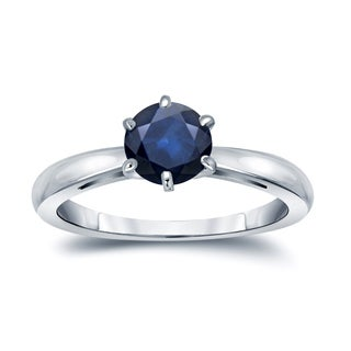 Auriya 14k Gold 1ct 6-Prong Round Cut Blue Sapphire Solitaire Engagement Ring