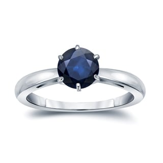 Auriya 14k Gold 1 1/4ct 6-Prong Round Cut Blue Sapphire Solitaire Engagement Ring