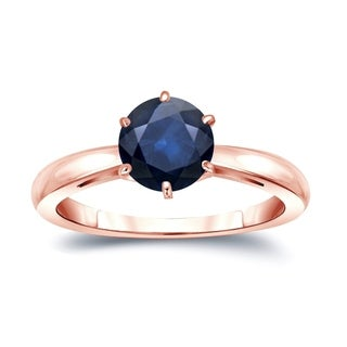 Auriya 14k Gold 2ct 6-Prong Round Cut Blue Sapphire Solitaire Engagement Ring