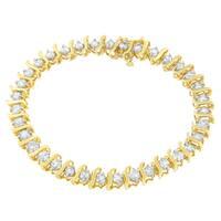10K Yellow Gold 5 ct. TDW Round Cut S-Link Diamond Bracelet (I-J,I2-I3)