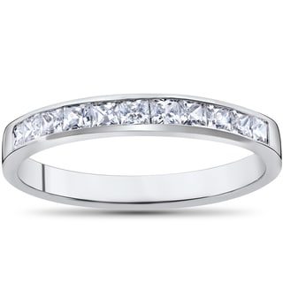 14k White Gold 1/2ct TDW Princess Cut Diamond Wedding Anniversary Ring (G-H,I1-I2)