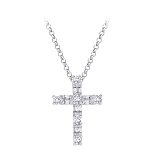 14K White Gold 1/4ct TDW Diamond Cross Pendant with Cable Chain