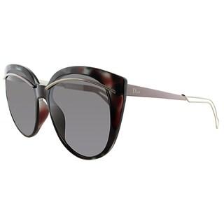 Dior Dior Liner UGR Spotted Havana Light Gold Plastic Cat-Eye Brown Lens Sunglasses