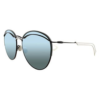 Dior Dior Round 32V Matte Burgundy Grey Metal Round Blue Mirror Lens Sunglasses