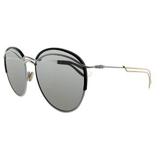 Dior Dior Round 4U9 Matte White Black Metal Round Silver Mirror Lens Sunglasses