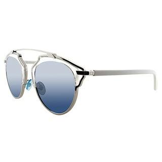 Dior Dior So Real I18 7R Palladium White Metal Aviator Sunglasses Silver Blue Mirror Lens